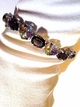 Vintage Genuine Smoky Topaz Mix Color Gemstones 925 Sterling Silver Brac... - $282.15