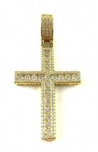 Men Iced out Pendant Cross 14k Gold over 925 Sterling Silver Hip Hop CZ d15 - $35.63