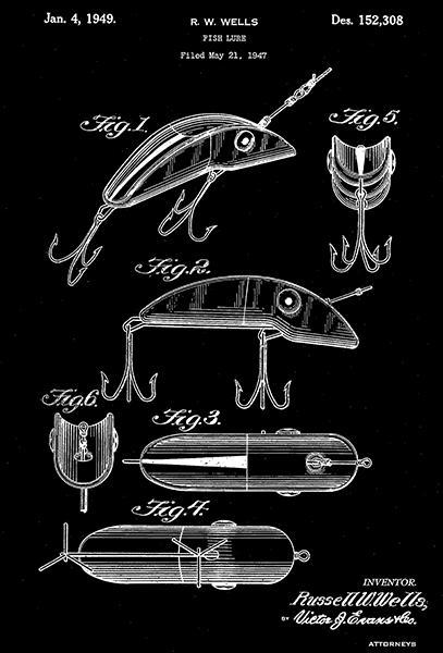 Primary image for 1949 - Fish Lure - R. W. Wells - Patent Art Poster