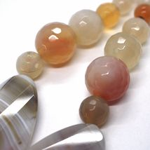 Long Necklace 100 cm, 1 Meter Agate Red and Brown, Spheres Ovals, Double Thread image 6
