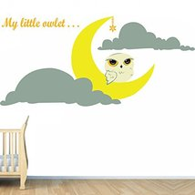 (55'' x 26'') Vinyl Wall Kids Decal Little Owlet and Crescent Moon, Clouds / Art - $55.10