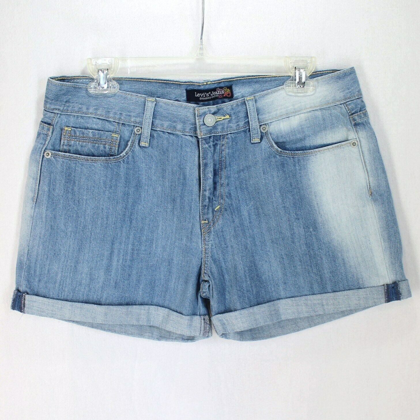 Levis Jean Shorts Juniors Sz 11 Bleached Light Wash Blue Denim Cuffed - $14.99