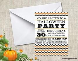 Halloween Chevron Costume Party Invitations Personalized Custom - $0.99+
