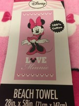 New Disney Minnie Mouse Beach Bath Towel Pink Love Minnie Cute! 28in x 58in - $24.89