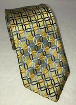 Countess Mara Neck Tie Gold with Linked Circles 100% Silk Handmade - $11.75