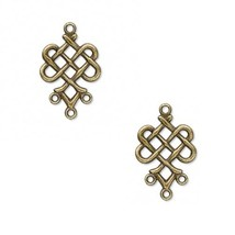 3 pieces Celtic Knot 23x19mm Drops / Charms Brass Plated  - $0.00