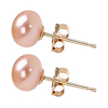 Freshwater Pearl Earrings 6mm-10mm Pink Pearl Earrings Stud Free Shippping - $9.99+