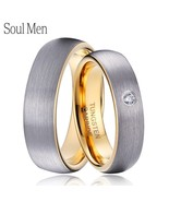 1 Pair Silver & Gold Color Dome Tungsten Carbide Wedding Ring Set 5mm fo... - $53.26
