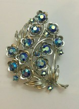 Vintage STAR Jewelry Co Signed Blue Iridescent Crystals Leaf Brooch Silver Tone - $43.61