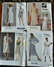 Lot 4 Vtg Patterns Vogue American Designers Tamotsu Perry Ellis Bill Blass - $12.76