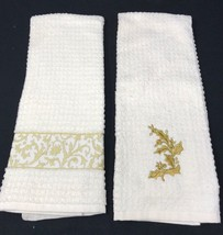 2 Vintage Waffle Christmas Cream & Gold Embroidered Kitchen Tea Dish Towels - $17.99