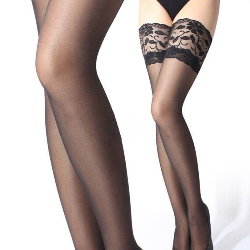 a2aae31a5 ITCQUALITY WOMEN SEXY STOCKINGS SOLID TOP LACE SHEER STAY UP THIGH HIGH  ITC1239