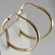 18K YELLOW GOLD EARRINGS CIRCLE HOOP 22 MM 0.87 INCHES DIAMETER MADE IN ITALY image 2