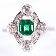 Vintage 1910's 14k White Gold Octagon Emerald & Diamond Cocktail Ring 1.... - $4,980.00