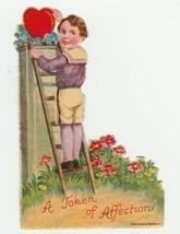 Vintage Valentine Card Boy on Ladder Red Heart Flowers 1920's Unused - $8.90