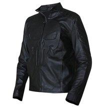 Mens Biker Skull Logo Embossed Black Motorcycle Synthetic Leather Jacket image 3