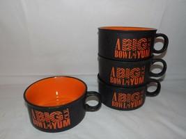 (4X) Soup Bowls w/ Handles Stackable A Big Ole Bowl Of Yum Brown / Orange - $39.55