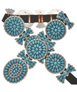 Navajo TURQUOISE CLUSTER CONCHO BELT Sterling Silver Petit Point Style L... - $3,400.00