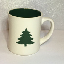 STARBUCKS 2008 Christmas Holiday White Green Embossed Tree 12 Oz Mug Cup EUC - $13.29