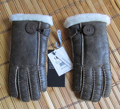 UGG Gloves Bailey Button Chocolate Bomber Shearling Med NEW - $150.00