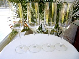 Set of 4 High Quality Clear Crystal Champagne Flutes - $29.70