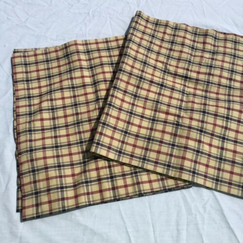"Primary image for 2 Red Blue Tan Plaid Valances Nancy's Nook Victorian Heart 16.5"" x 60"" Cotton"