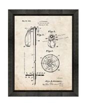 Ski Pole Grip And Ring Patent Print Old Look with Beveled Wood Frame - $24.95+
