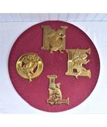 N O E L Brass Angel Letter Christmas Ornaments Department 56 Cherubs 1990s - $28.00