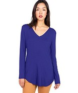 Pink Ice Women's Basic Long Sleeve V-Neck Top, Royal Blue, Small - $18.05