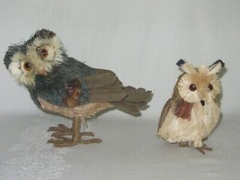 2 Owl Bird Figures Sisal Fiber Straw & Wood Vtg Figurines Natural Dried ... - $29.69
