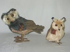 2 Owl Bird Figures Sisal Fiber Straw & Wood Vtg Figurines Natural Dried ... - $29.69