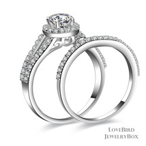 1 ct Round Cut Halo Split 925 Sterling Silver Cubic Zirconia Engagement Ring Set - $53.20