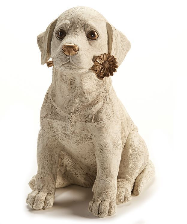 "Primary image for Dog Figurine with Gold Daisy Design Accent 11.81"" high Cream Color"