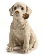 "Dog Figurine with Gold Daisy Design Accent 11.81"" high Cream Color  NEW - $79.19"
