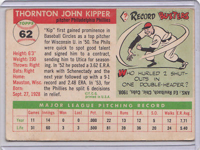 1955 Topps 62 Thornton Kipper Not Graded