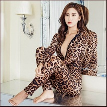 Sheer Stretch Brown Large Leopard Print Long Sleeve Front Zips to Back Catsuit