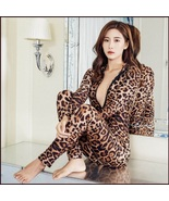 Sheer Stretch Brown Large Leopard Print Long Sleeve Front Zips to Back C... - $69.95