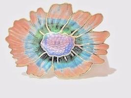 PIN VINTAGE ENAMEL PINK GREEN PURPLE CRYSANTHEMUM MUM VINTAGE - $24.00