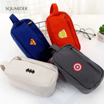 SQUMIDER Superhero Canvas Pencil Case Creative Large Capacity Side Open ... - $6.00