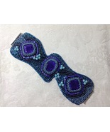 Bracelet Cuff Wide Asymmetrical Bead EmbroideredPurple Aqua Handmade OOAK - $130.00