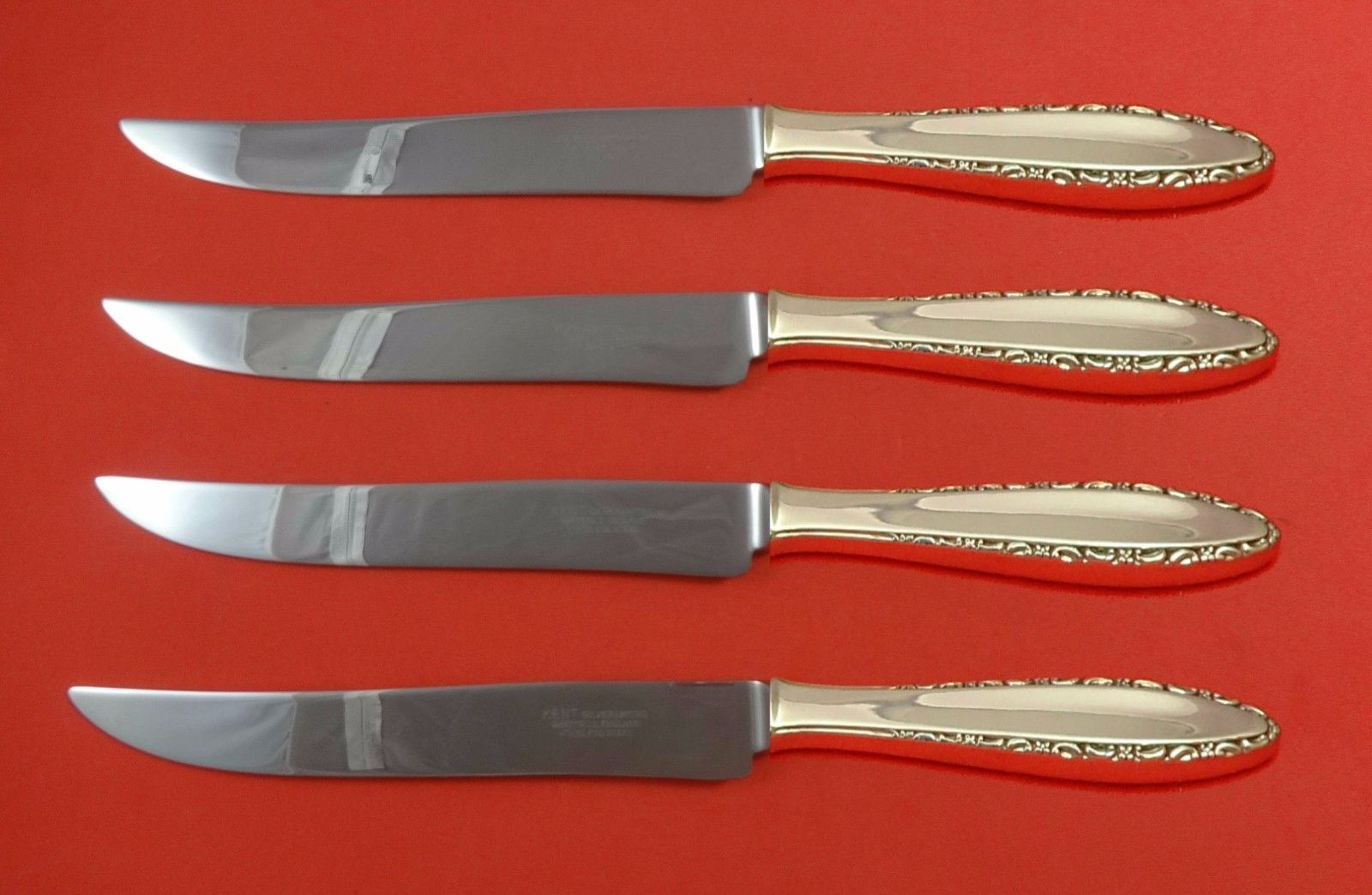 Lace Point by Lunt Sterling Silver Steak Knife Set 4pc Large Texas Sized Custom - $247.10