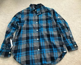 Gap Kids Boys Long Sleeve Blue Plaid Button Shirt Size Medium - $4.99