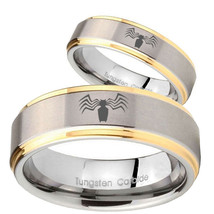 Bride and Groom Gold 2 Tone Step Edge Spider Satin Middle Tungsten Rings... - $69.98