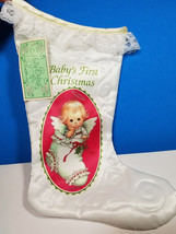 RUTH MOREHEAD HOLLY BABES Christmas Stocking BABY ANGEL First WHITE LACE... - $25.99