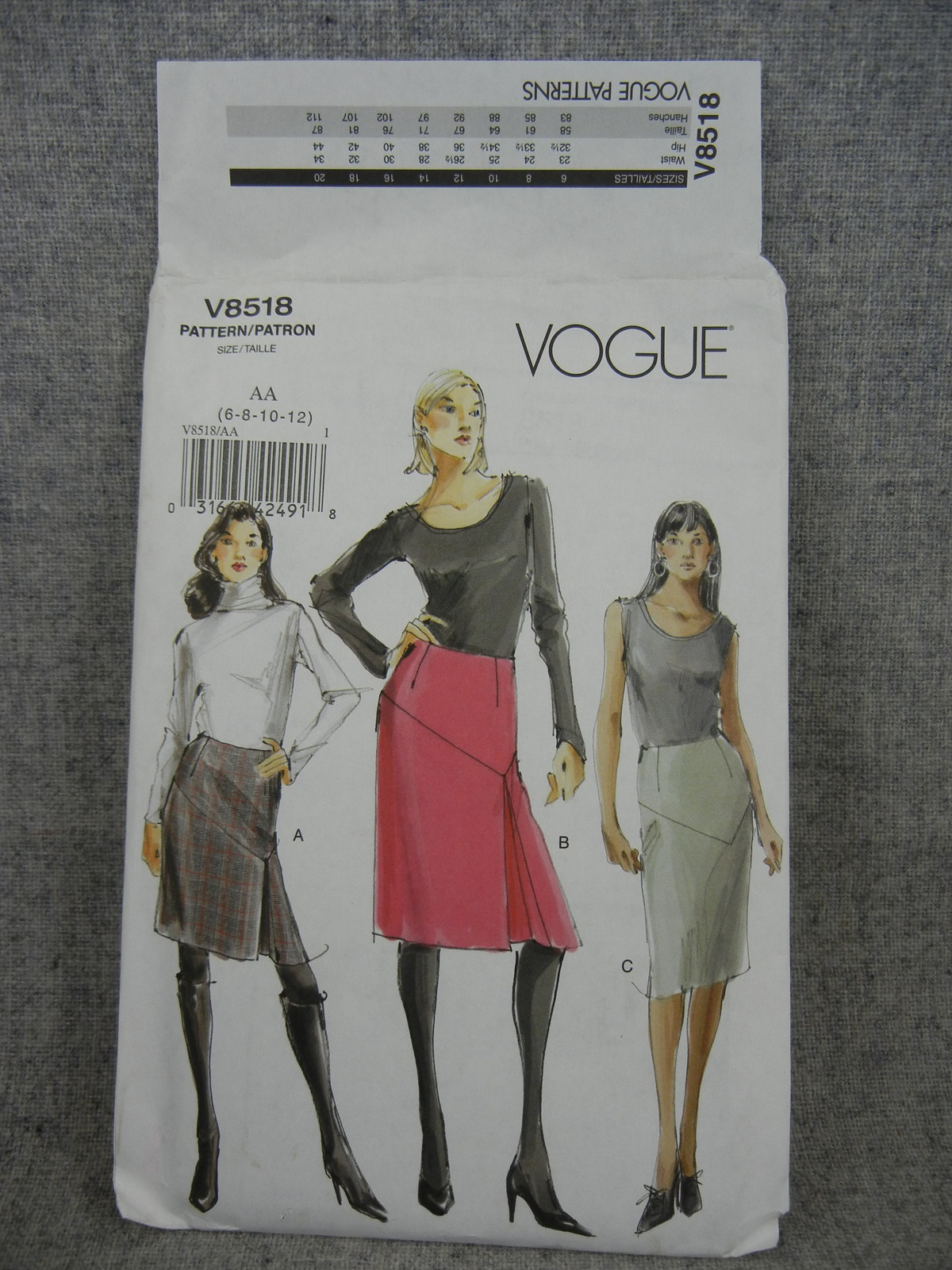 Primary image for Misses 6-12 Tapered lined Skirts with asymmetrical Yoke  2 lengths  Vogue V8518