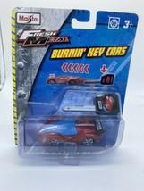 Fresh Metal BurnIn Key Cars Maisto Press Button Launch Spring Loaded Red Blue - $4.74