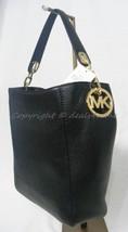 NWT! Michael Kors Fulton Slouchy Shoulder Bag in Black Leather Goldtone ... - $219.00