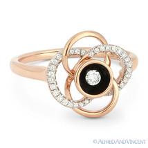 0.18ct Round Brilliant Cut Diamond & Enamel Right-Hand Flower 14k Rose G... - €591,28 EUR