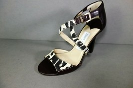 Jimmy Choo 36 Pioneer Leopard Print Canvas Dark Brown Leather Sandals Shoes NEW image 2