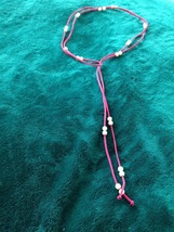 "Boho Beaded Lariat 70"" 25 moveable pearlized beads faux suede pink cord  - $34.99"